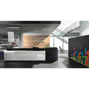 Customized Island Type Black and White Kitchen Units Kitchen Cabinets pictures & photos