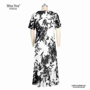 Miss You Ailinna 103079 Chinese Design Maxi Black and White Cotton Dress pictures & photos