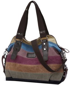 Multi-Color Striped Hobos and Shoulder Women Bag Canvas Totes Handbags pictures & photos