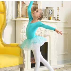 OEM Children Dance Costumes Blue Bitter Fleabane Skirt Short Sleeve of Ballet Costumes Dress pictures & photos