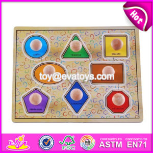 New Design Preschool Kids Matching Geometry Wooden Jumbo Knob Puzzle W14m099 pictures & photos