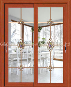 High-Class Aluminium Sliding Door with Built-in Magnetic Shutters (6685) pictures & photos