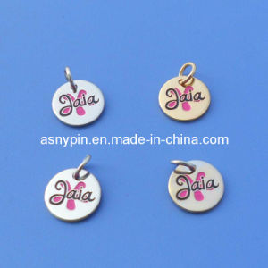 Soft Enamel Disc Shaped Gold and Silver Metal Jewelry Tags pictures & photos