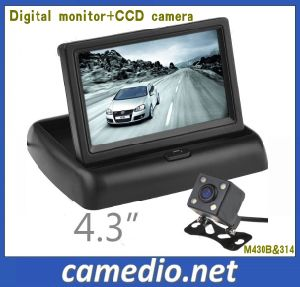 "4-Lights Car Rear View Camera with 4.3"" TFT LCD HD Foable Monitor System pictures & photos"