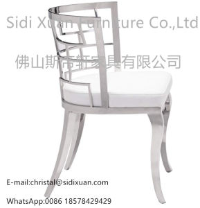 Moder Geometric White Leatherette Dining Chair for Living Room Furniture pictures & photos