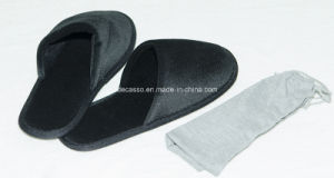 Black Hotel Plush Slippers (DCS-9101) pictures & photos