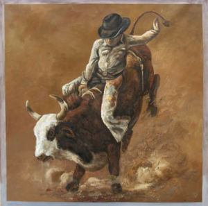 Cowboy Oil Painting On Canvas (T79)