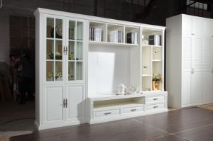 White Color PVC TV Stand Cabinet with Tempered Glass Cabinets Doors pictures & photos