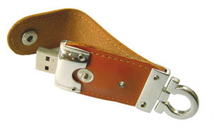 Leather USB Flash Drive, Leather USB Disk (JU-075)