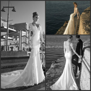 White Sweetheart Bridal Gowns Backless Long Sleeves Mermaid Wedding Dress Y1601 pictures & photos