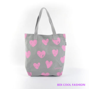 2014 New Fashion Heart Printed Canvas Bag (B14804) pictures & photos