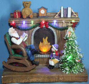 LED Fireplace With Rocking Santa (18002)