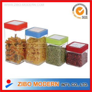 4 PC Square Glass Food Use Storage Jars with Airtight Plastic Lid pictures & photos