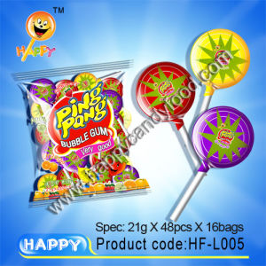 Ping Pong Lollipop with Chewing Gum/Chewing Gum Candy (HF-L005)