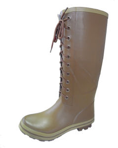 Fashion Women′s Rubber Rain Boots with Lace Up