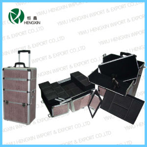 New Style Brown Snake Skin Beauty Trolley Case (HX-PT007) pictures & photos