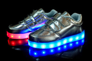 Light up Shoes Kids Gold Straps pictures & photos
