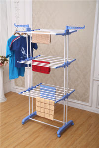 3 Layer Adjustable Powder Coated Cloth Drying Rack with Wheels (JP-CR300W) pictures & photos