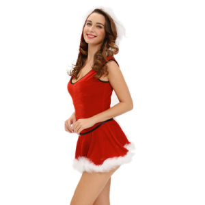 Soft Fur Trim Red Santa Teddy and Skirt Latex Christmas Dance Costume pictures & photos