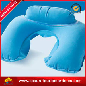 Flocked Inflight Inflatable Neck Pillow with Logo pictures & photos