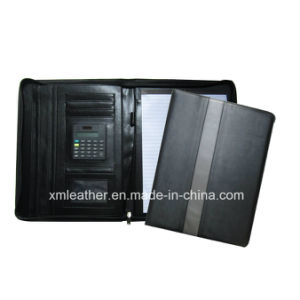 Custom Leather Document Holder Case File Folder with Calculator pictures & photos