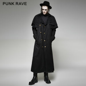 Y-716 Punk Men Winter Double-Breasted Faux Suede Long Coat with Cloak pictures & photos