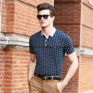 High Quality Slim Check Printing Gentle Men Polo Shirt Golf Clothes pictures & photos