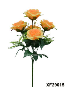 Artificial/Plastic/Silk Flower Single Stem of Rose with 5 Branches (XF29015) pictures & photos