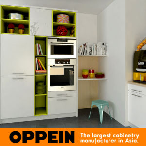 Modern Flower Painted Lacquer HPL Wooden Modular Kitchen Furniture (OP16-L03) pictures & photos