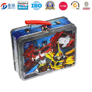 Wholesale Metal Gift Box Packaging Custom Tin Lunch Box with PVC Window and Plastic Handle pictures & photos