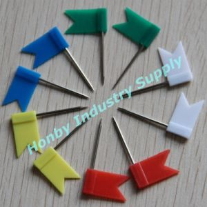High Quality Plastic Colorful Head Flat Flag Map Push Pins as Office Supplies
