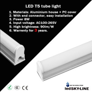 2 Years Warrenty 60cm 8W All-in-One T5 LED Lighting Fixture with Warm Light