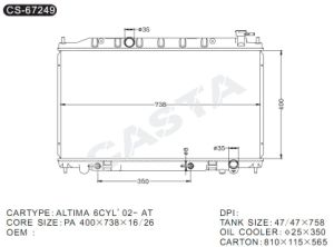 Hot Wholesale Auto Radiator for Nissan Altima 6cyl′02-at pictures & photos