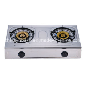 2 Burners Stainless Steel High Type 120-120 Brass Burner Cap Gas Cooker/Gas Stove pictures & photos