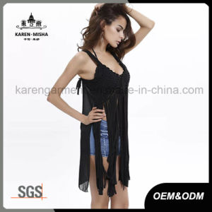 Ladies Fashion Fringe Hem Lace Sexy Crochet Tops pictures & photos