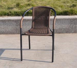 Patio Outdoor Rattan Wicker Furniture Steel Stack Chair Welded Frame