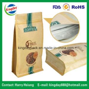Coffee Bag with Kraft Paper & Flat Bottom & with Ziplock