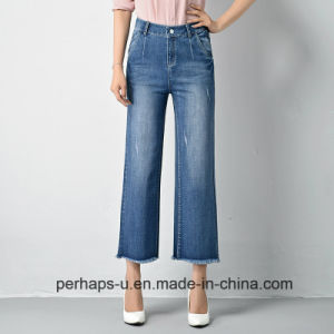 Womens Wide Legs Jeans with Raw Edges on Hemline pictures & photos