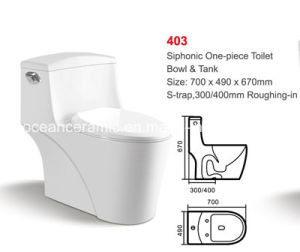Ceramic Siphonic One-Piece Toilet (No. 403) 300/400mm Roughing-in pictures & photos