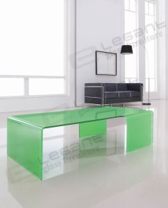 Transparent Glass Center Table with Curved Shape pictures & photos