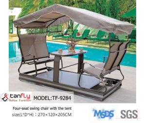 Leisure Patio Garden Used Four-Seat Swing Chair with The Tent