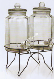 2PC 3.8L Glass Beverage Dispenser with Glass Lid and Metal Stand pictures & photos