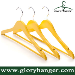 for Clothes Display Colourful Wooden Garment Hanger in Yellow pictures & photos