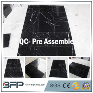 Nero Marquina 10mm Thick Marble Tile for Wall Tile, Bathroom Surrounding, Interior Flooring Tiles pictures & photos
