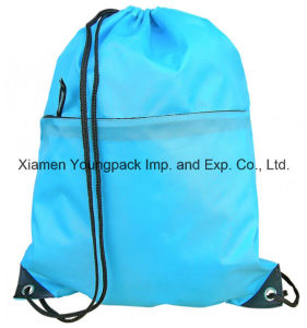 Zipper Front Pocket Promotional Custom Waterproof Nylon Drawstring Backpack pictures & photos