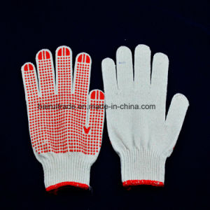 65g Bleached Cotton Ten-Pin DOT Colored Plastic Slip Gloves pictures & photos