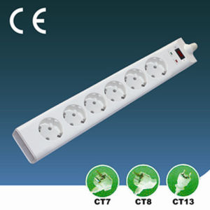 Surge-Proof Six Ways EU Extension Socket with Switch