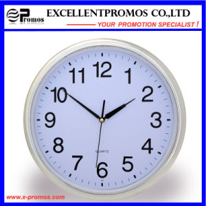 Silver Frame Logo Printing Round Plastic Wall Clock (Item21) pictures & photos