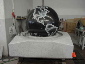 Black Granite Ball Water Garden Fountain with Map Etching pictures & photos