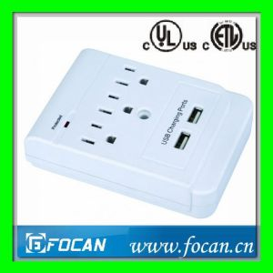 2 Outlets Surge Protected Current Tap with USB Ports pictures & photos